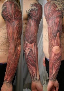 3d tattoo creating the illusion that the skin is ripped and the arm's muscles and tendons are visible