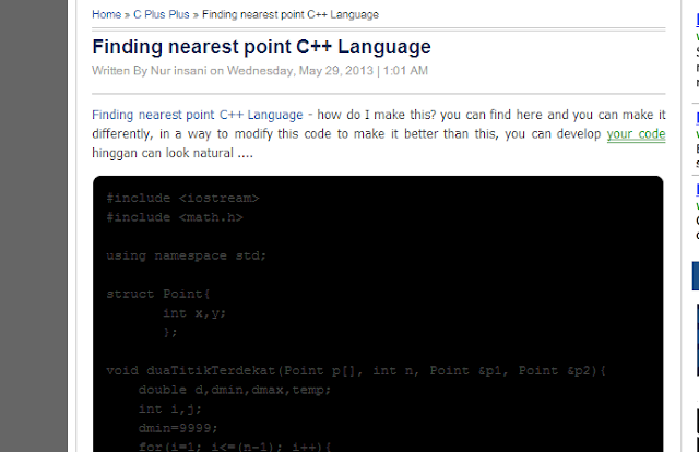 Finding nearest point C++ Language