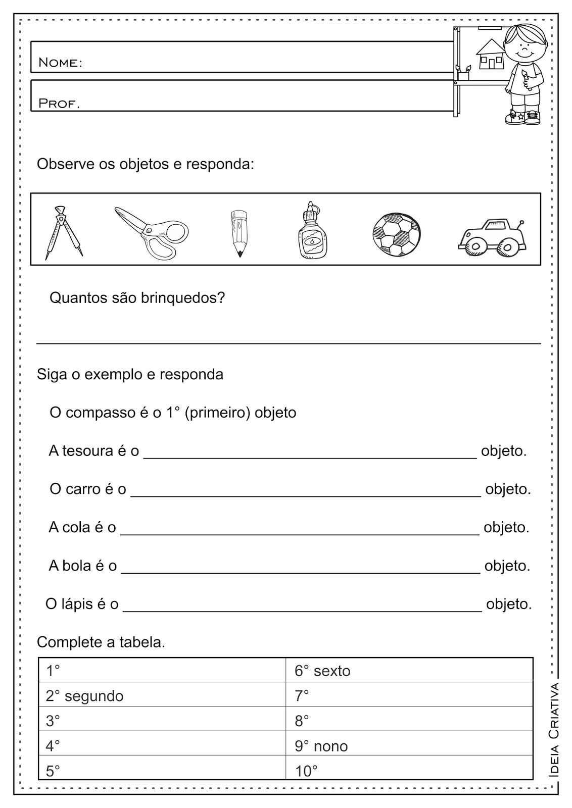 Atividades Educativas Números Ordinais Matemática 3° ano Fundamental