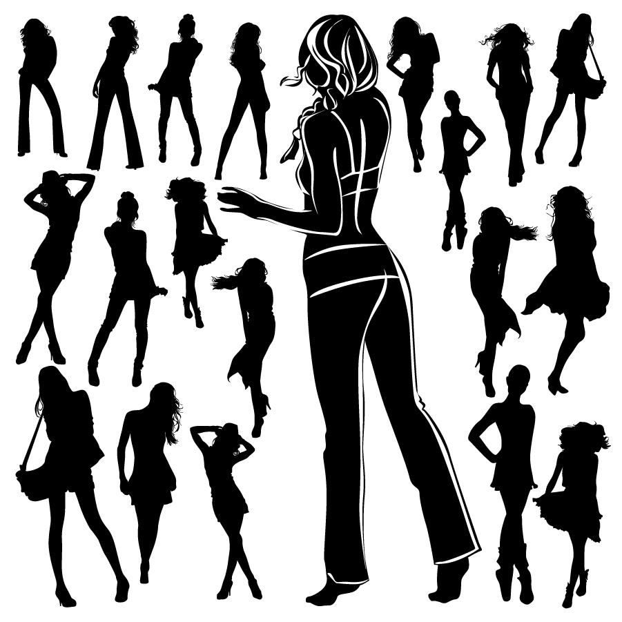 ファッション ポーズをきめる女性のシルエット fashion pose girls silhouettes イラスト素材