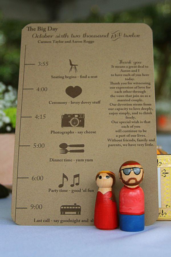 Programa de boda con muñequitos de los novios