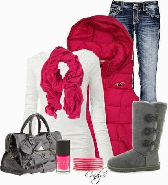 Red scarf, white fall shirt, sleeveless red coat, jeans and winter boots for fall