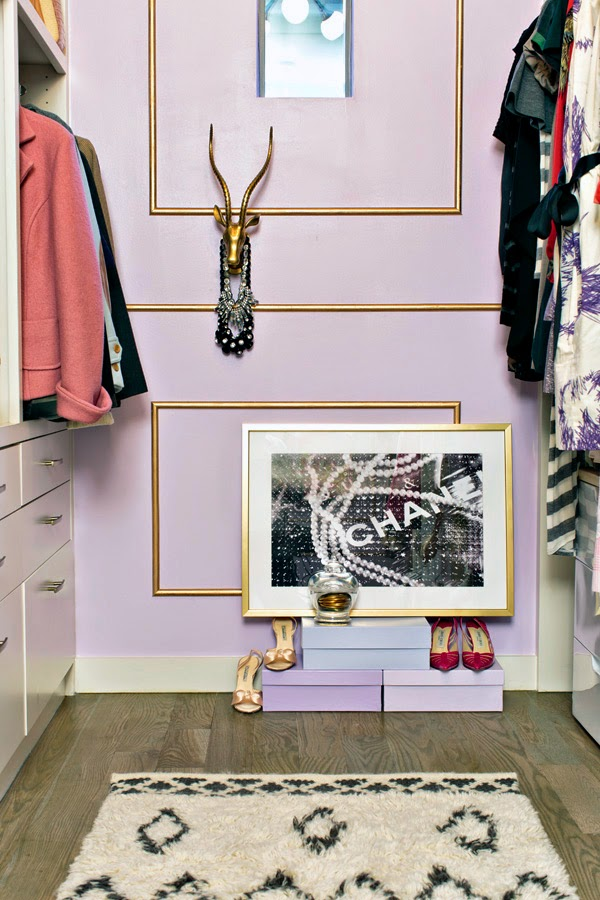 lilac, walk-in closet, gold trim, Mimosa Lane blog, One Room Challenge, jason kindig photography