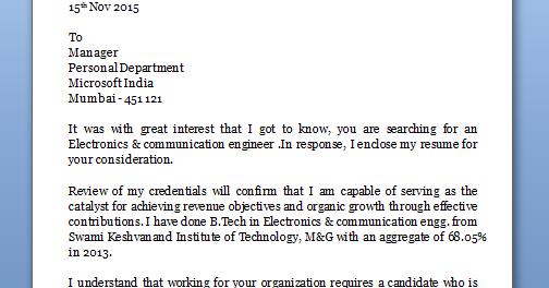 application letter for job