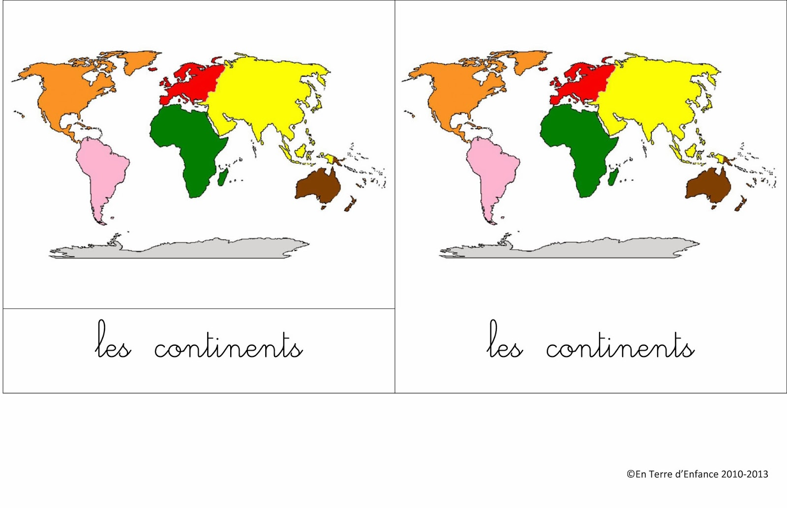 Super Cartes de nomenclature: les continents - En Terre d'Enfance LK93