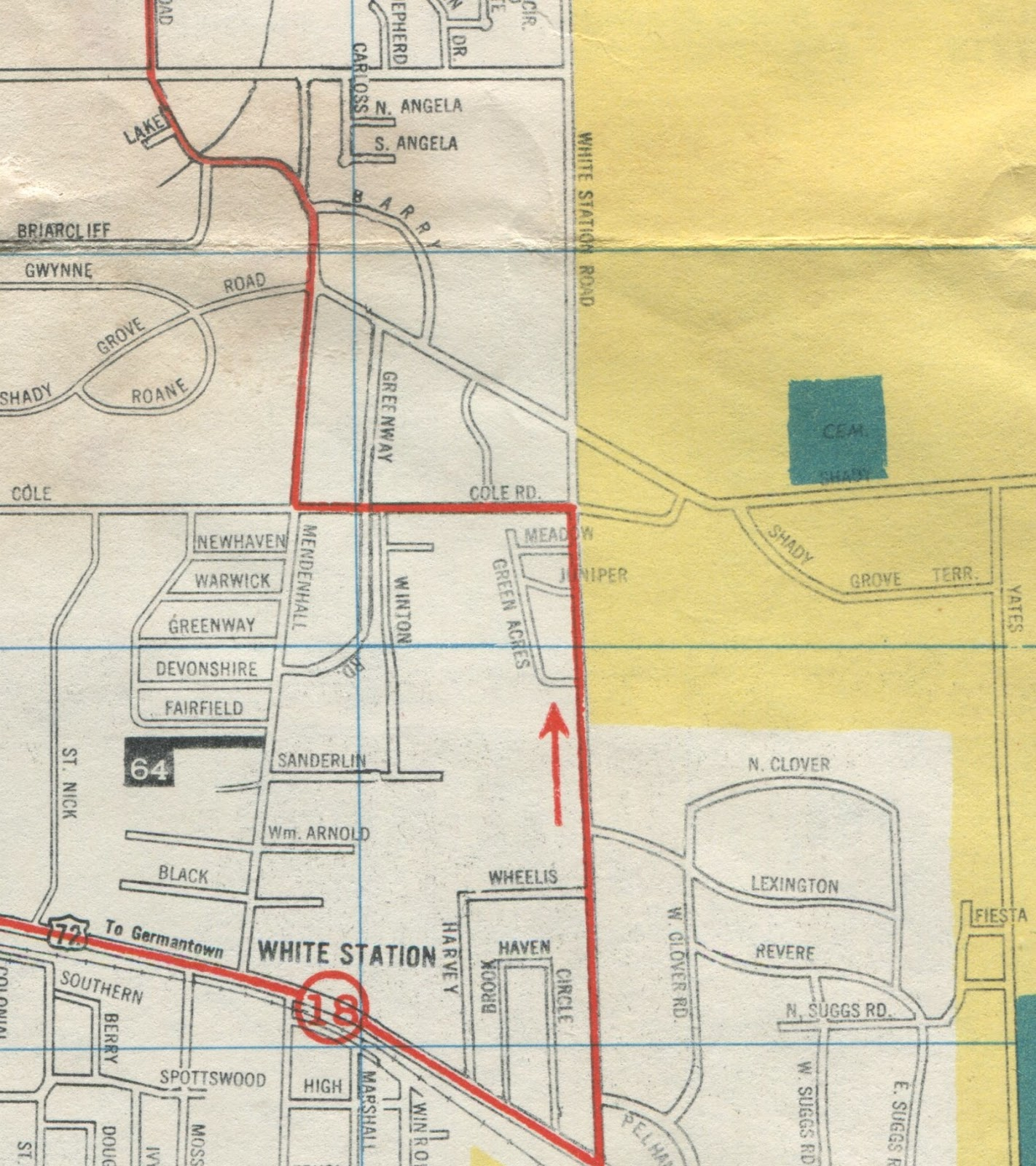 this 1954 map shows the location of patterson elementary marked here with a 64 new philadelphia church sits just to its east at mendenhall and