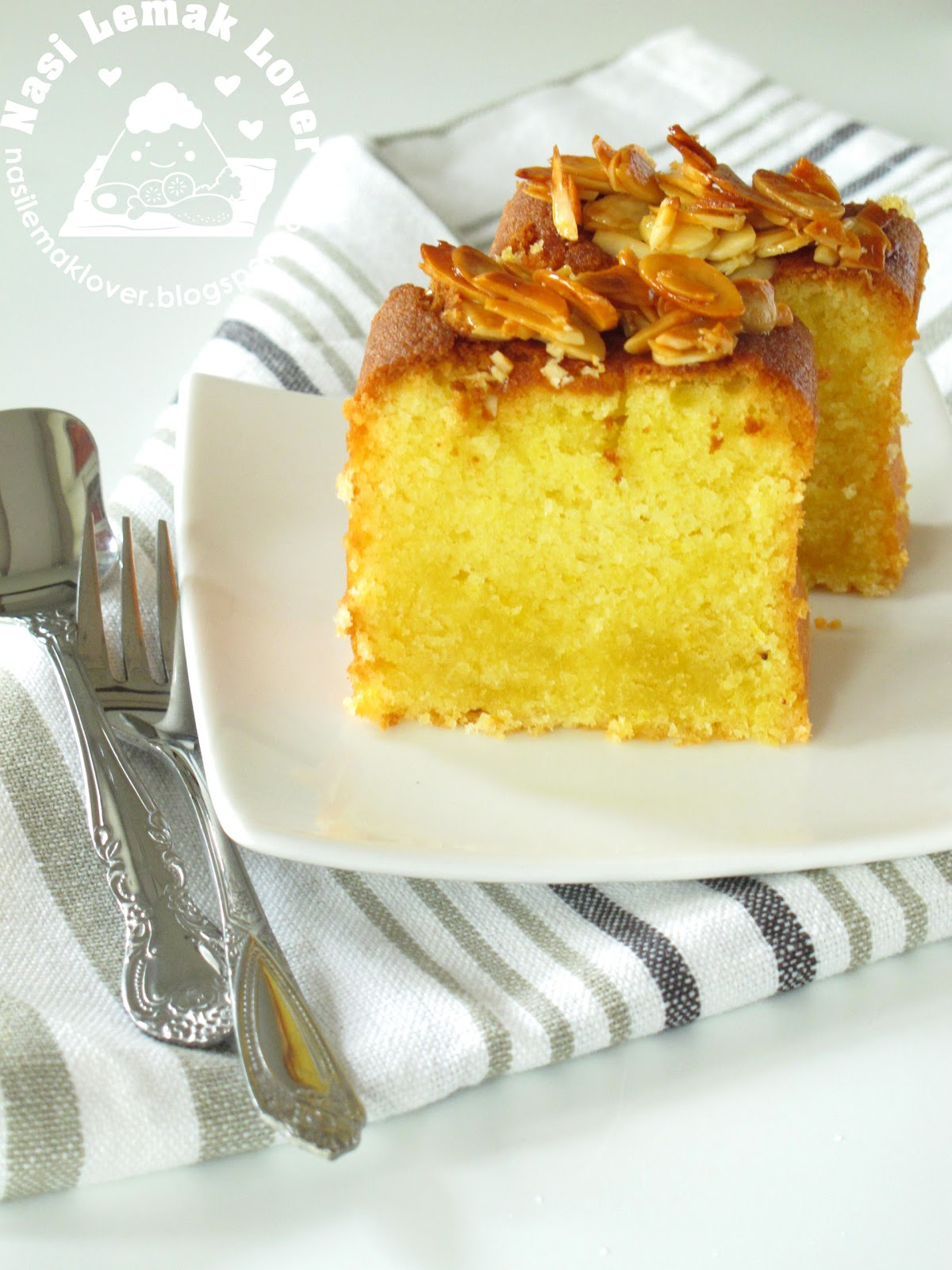 Nasi Lemak Lover: Orange Almond Butter Cake with Honey Almond Crust