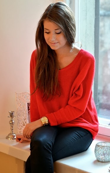 Red Sweater With Black Leather Pant