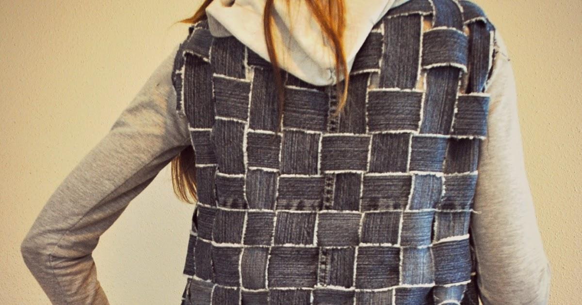 Basket Weave Vest Pattern : Trash to couture jeans basket weave into textured vest jacket