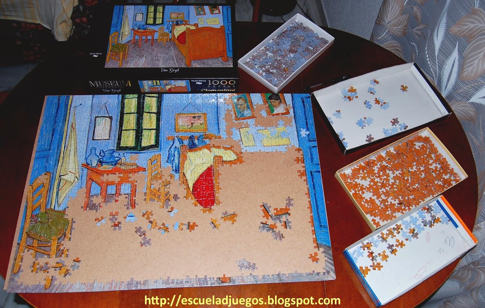 Puzzle de La habitación de Van Gogh, de 1000 piezas editado por Clementoni, en construcción