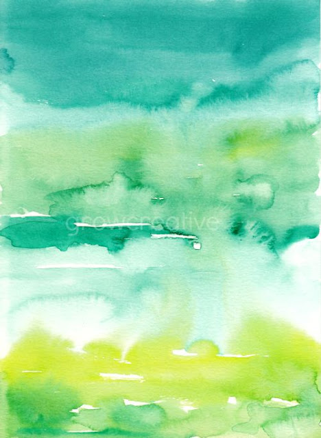 Abstract Landscape Watercolor Painting, Ocean and Sky, by Elise Engh: Grow Creative