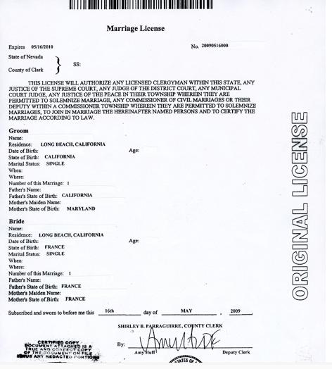 Le certificat de mariage (Marriage Certificate) APRÈS le mariage