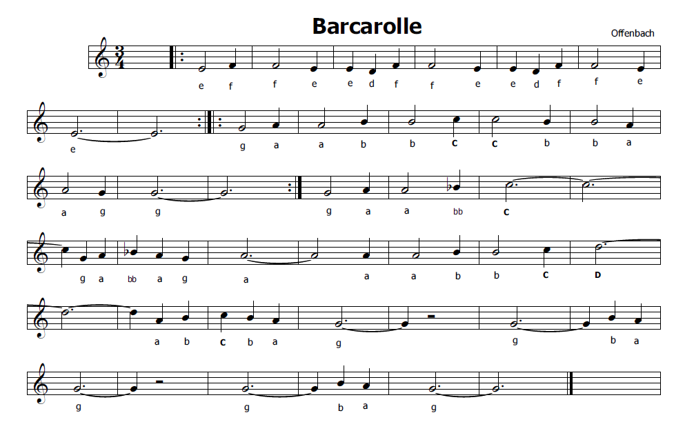 Musica e spartiti gratis per flauto dolce: Barcarola di Offenbach