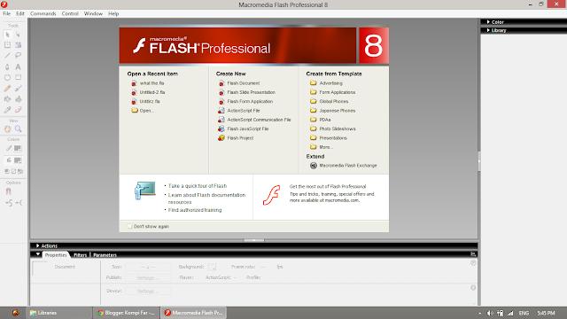 tampilan awal macromedia flash 8