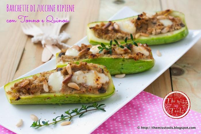 barchette di zucchine ripiene con quinoa e tonno - stuffed zucchini boats with quinoa and tuna