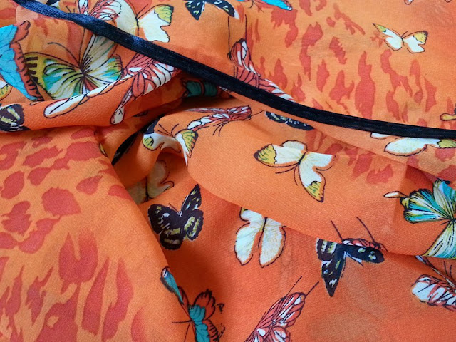 shawl chiffon printed butterfly with piping oren