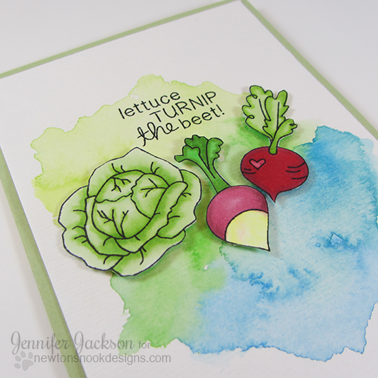 Lettuce Turnip the Beet Vegetable card by Jennifer Jackson | Vegetable Medley Stamp set by Newton's Nook Designs