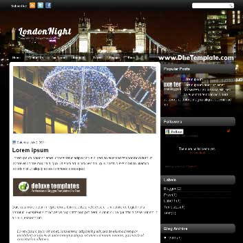 LondonNight blogger template. template blogger magazine style template. template blogger with featured content slider