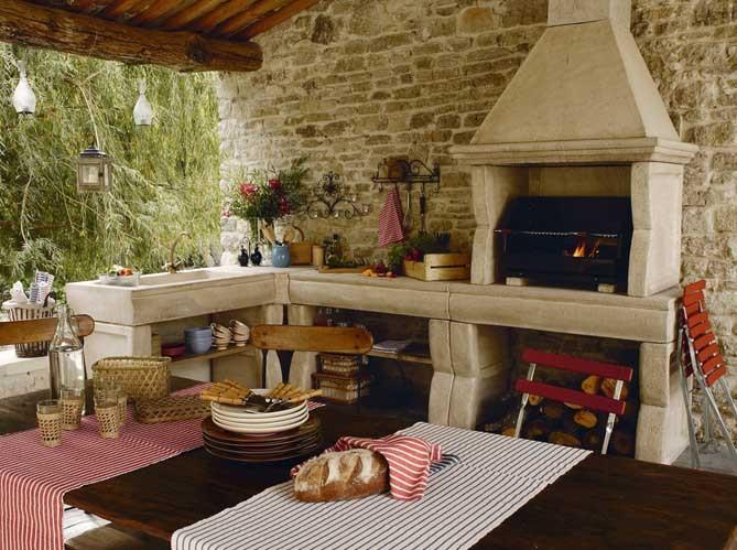 Decorando la francesa cozinhas de exterior - Barbecue en pierre leroy merlin ...