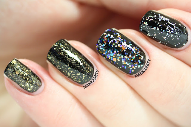 Manicurity | Strong Stash Starters: Pretty, Neutral-ish Glitter = Deborah Lippmann Boom Boom Pow, Essie As Gold as it Gets, China Glaze Snow Globe, Wet n Wild Wild Shine Kaleidoscope