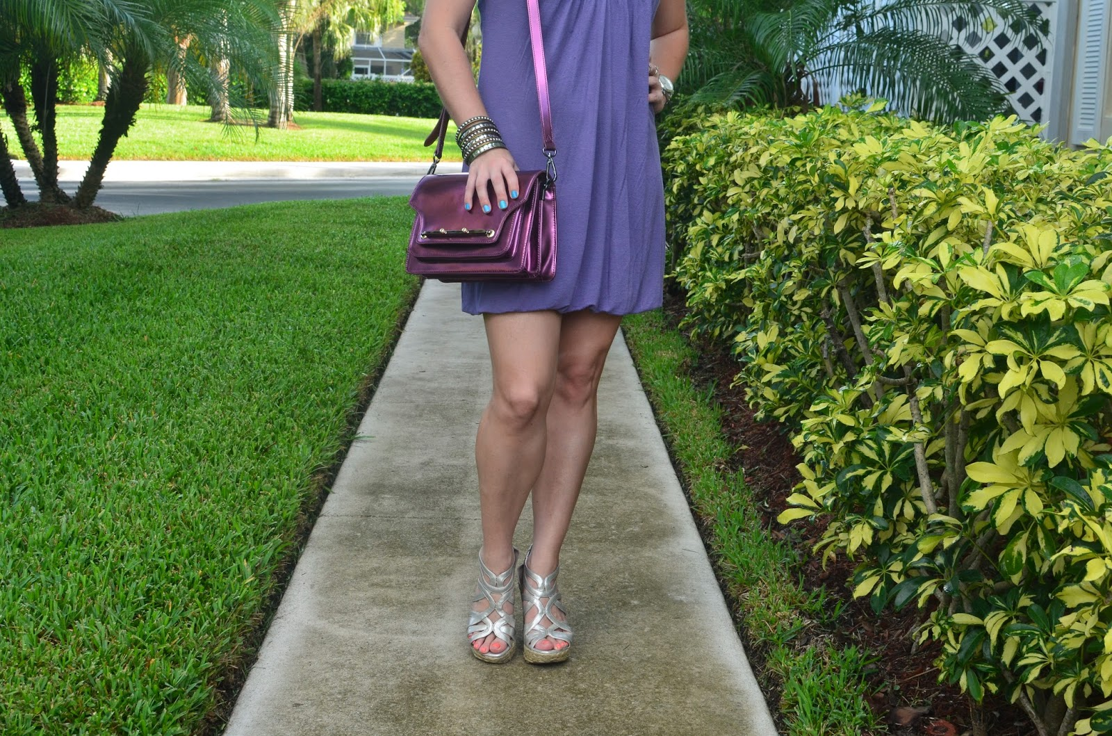 Purple shift dress - Chrome bag