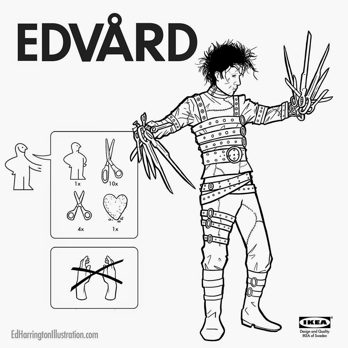 06-Edward-Scissorhands-Ed-Harrington-Illustrations-Assemble-Monsters-with-IKEA-Instructions-www-designstack-co