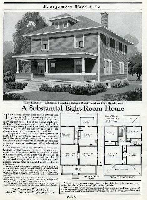 "Montgomery Ward Kit House::Model ""The Illinois"" from 1925"