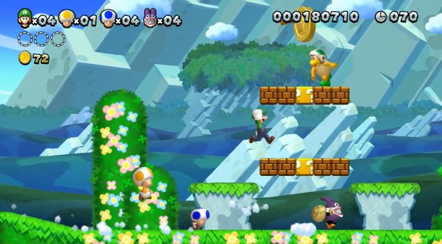 Screenshot of four player co-op in New Super Luigi U