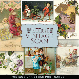 Scrapbook freebie Christmas Vintage Post card from farfarhill
