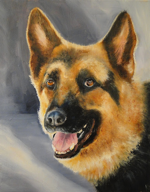 Portrait of a German Shepherd, oil painting, dog painting, pet portrait by Karen