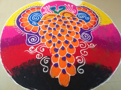 beautiful peacock rangoli