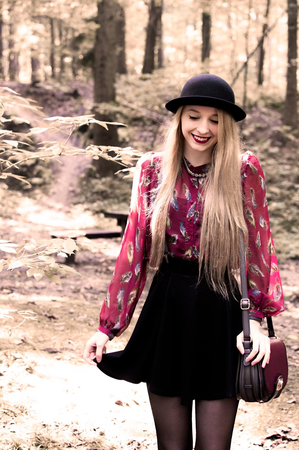 uśmiech blond włosy koszula second hand sh mgiełka blog modowy