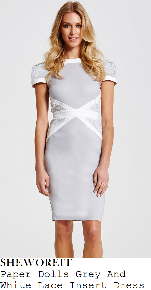 denise-van-outen-grey-white-lace-panel-bodycon-dress-this-morning