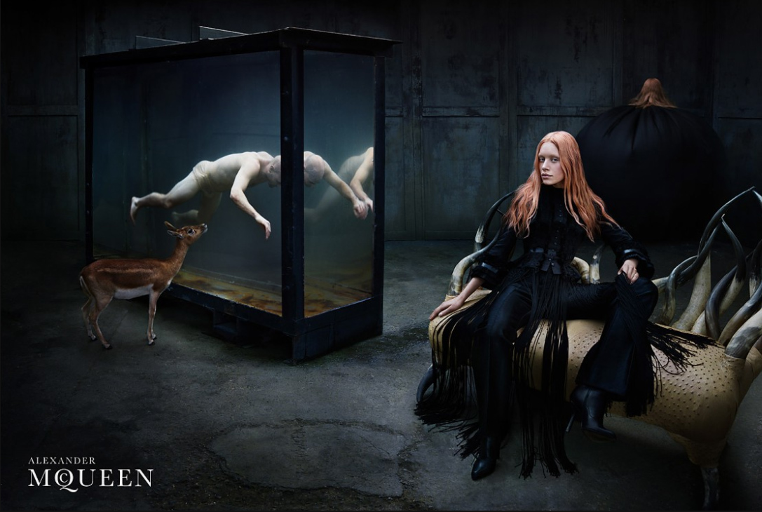 Alexander McQueen Fall/Winter 2002 campaign (photography: Steven Klein, model: Tatiana Urina)