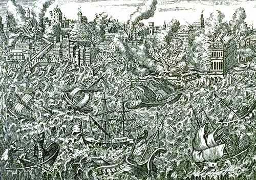 les ruines de Lisbonne en flammes et un tsunami submergeant les navires du port.