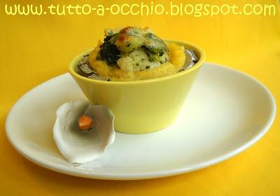 Cestini di polenta con cavoli e broccoli