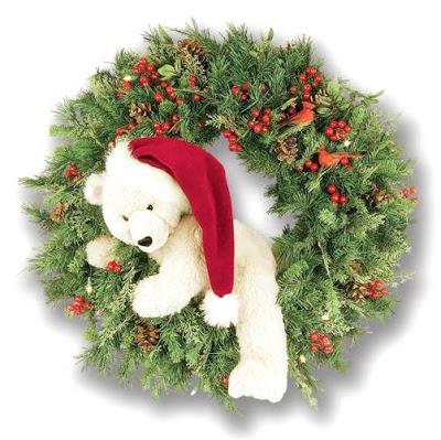 Guirlanda de Natal decorada com ursinho de pelúcia