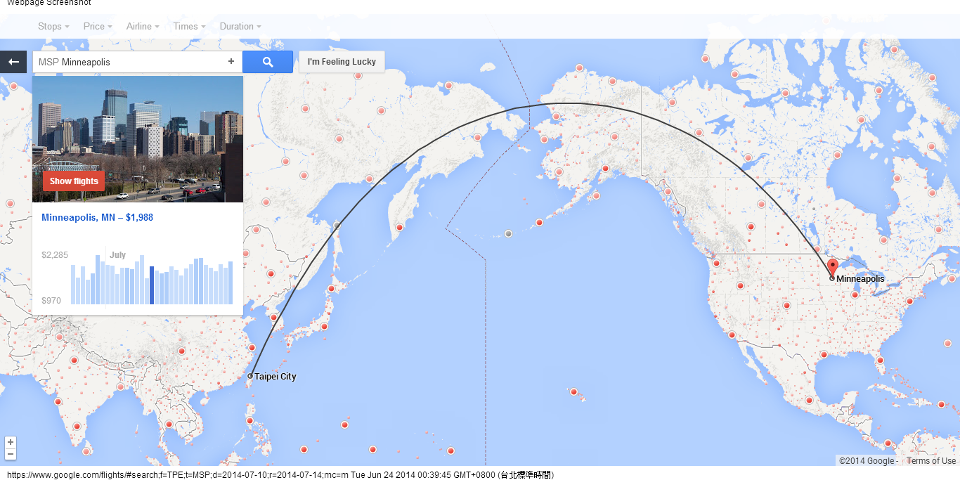 for example i chose the flight from taipei taiwan to my favorite city in the u s minneapolis then the webpage showed the route and the tickets price in