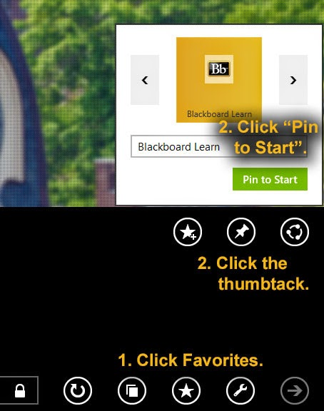 "1. Click Favorites.  2. Click the  thumbtack. 3. Click ""Pin  to Start""."