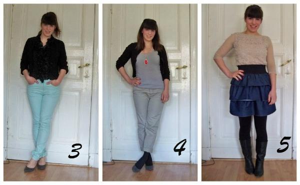 30 Kleidungsstücke für 30 Tage ergeben 30 verschiedene Outfits Tag 3 bis 5