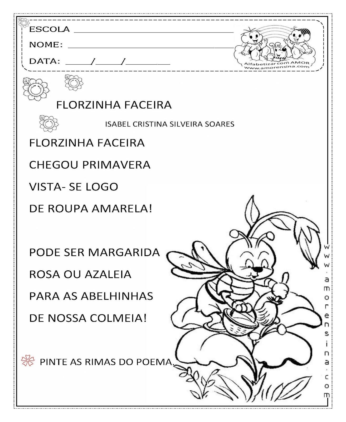 flores do jardim letra : flores do jardim letra:Alfabetizar com AMOR: FLORZINHA FACEIRA – EDUCAÇÃO INFANTIL/ 1ºANO