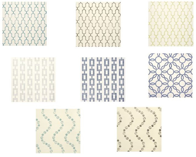 Samples of Phillip Jeffries printed wallpaper