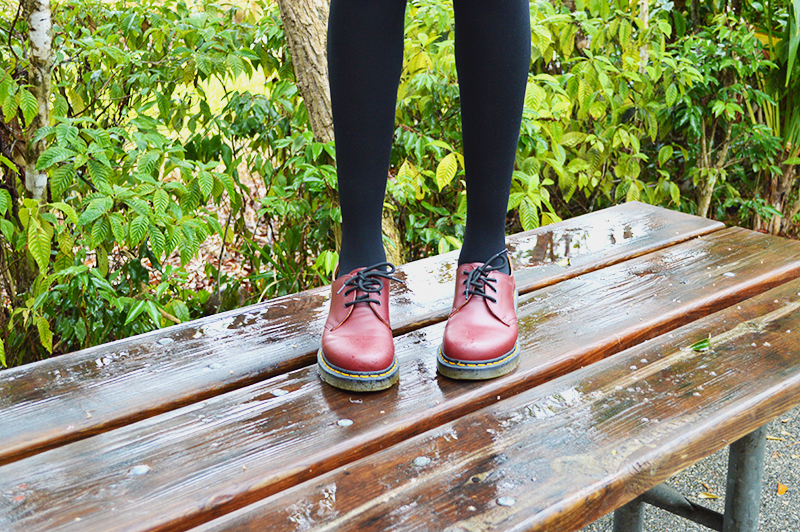 Fashion Blogger Anais Alexandre of Down to Stars at Bill Sadowski Nature Center wearing doc martens.