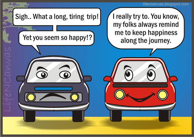 happiness journey inspiring cartoon