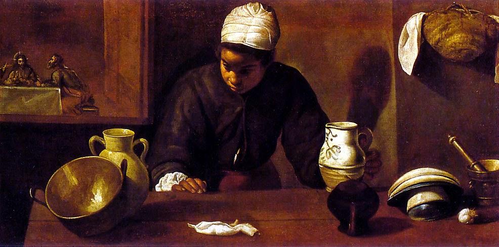Diego Velazquez - la fille de cuisine avec le souper à Emmaus,1617-1618.