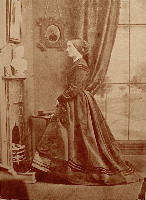 A studio photograph of Margaret Milburn Amidon from the 1860s.