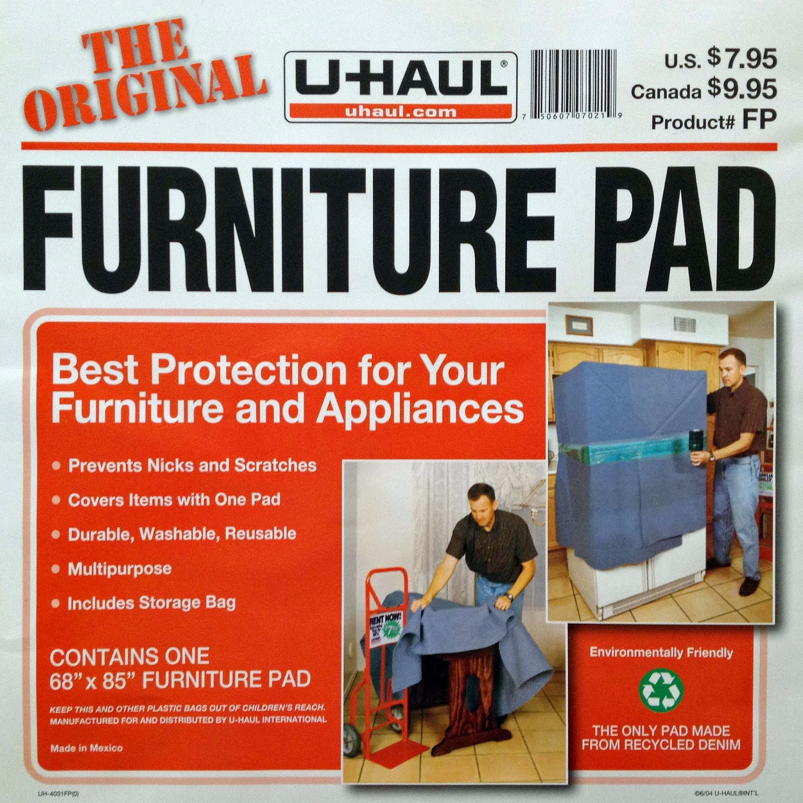 U-Haul Furniture Pad Label