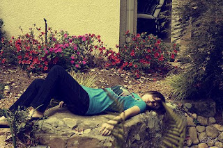 alone girl sleeping on flowers cover photo for facebook