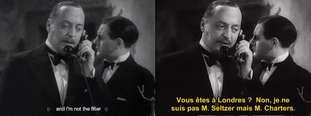 Zwei Screenshots ein- und derselben Einstellung, links: and i'm not the filter (rechts übersetzt im Unterititel)