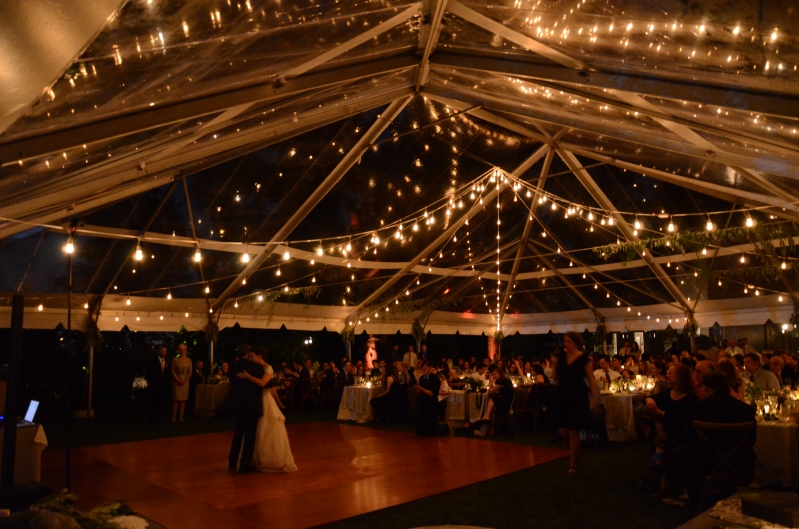 Suspended 600ft of String Lights in a circular pattern under a clear top tent at the Morrisu2013Jumel Mansion. & Universal Light and Sound - Recent Events: String Lights - Morris ...